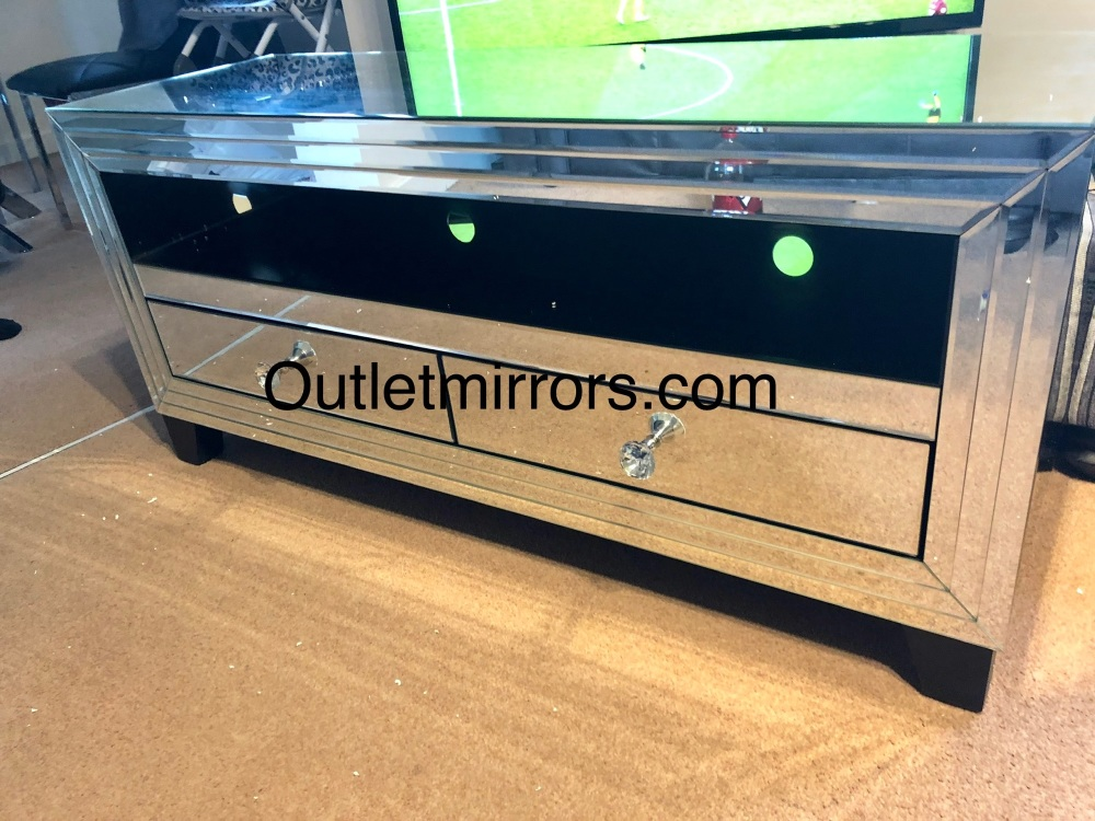 * Silver Mirrored 2 Draw TV Entertainment Unit 120cm in stock