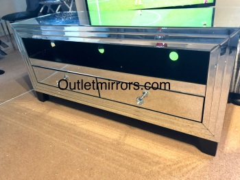 * Silver Mirrored 2 Draw TV Entertainment Unit 120cm in stock special offer
