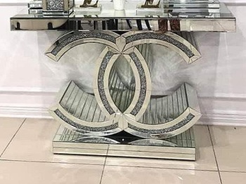 "* Diamond Crush crystal Sparkle Large ""CC"" Console Table in stock"