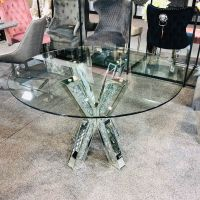 "* Diamond Crush Sparkle Mirrored Dining Table Round ""Cross Stick"""