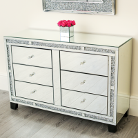*Diamond Crush Sparkle Crystal Mirrored 6 draw Large Chest
