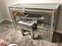 * Monica Diamond Crush Mirrored 7 Draw Dressing Table with a Diamond crush Top -Stock due end January