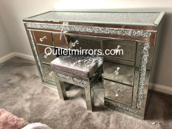 * Monica Diamond Crush Mirrored 7 Draw Dressing Table with a Diamond crush Top -In Stock