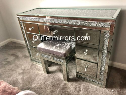 * Monica Diamond Crush Mirrored 7 Draw Dressing Table with a Diamond crush