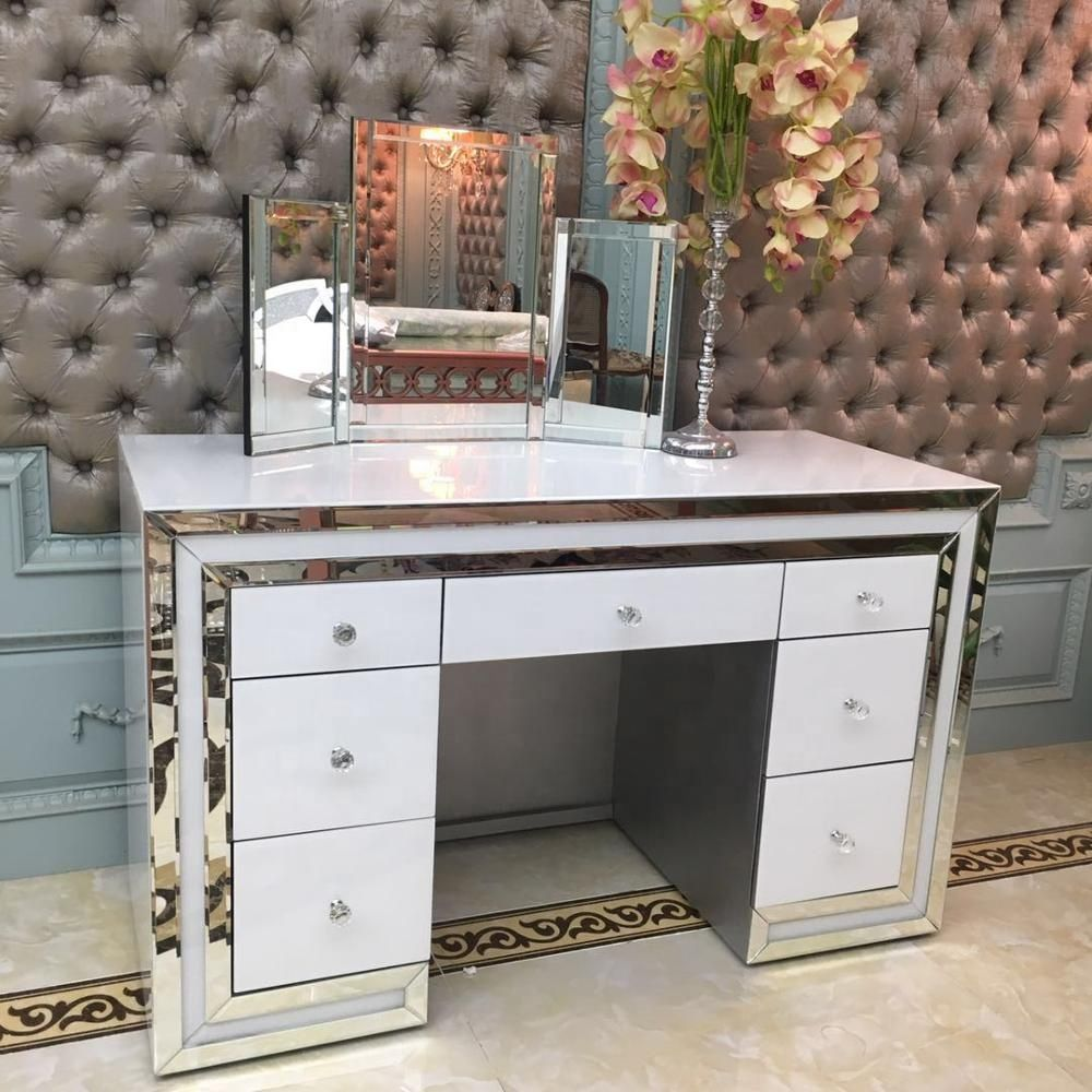 *Atlanta White & Mirrored 7 Draw Dressing Table with stool - was £899 now o