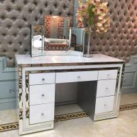*Atlanta White & Mirrored 7 Draw Dressing Table with stool - was £899 now only £529.99 incredible price PRE ORDER NOW