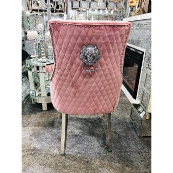 Lion Back Dining Chair Quilted Stitch Back Design in Pink with Chrome Leg
