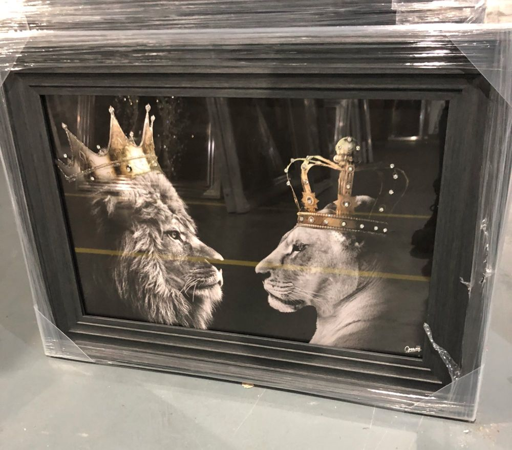 King Lion & Queen Lioness in a grey stepped framed 55cm x 75cm