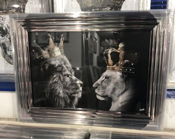 King Lion & Queen Lioness in a chrome stepped framed 55cm x 75cm