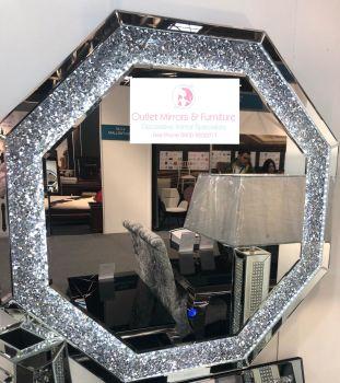 Diamond Crush Sparkle Octagonal LED Wall Mirror 90cm x 90cm