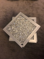 Crush Diamond Sparkle Mirrored Square Coasters set of 4