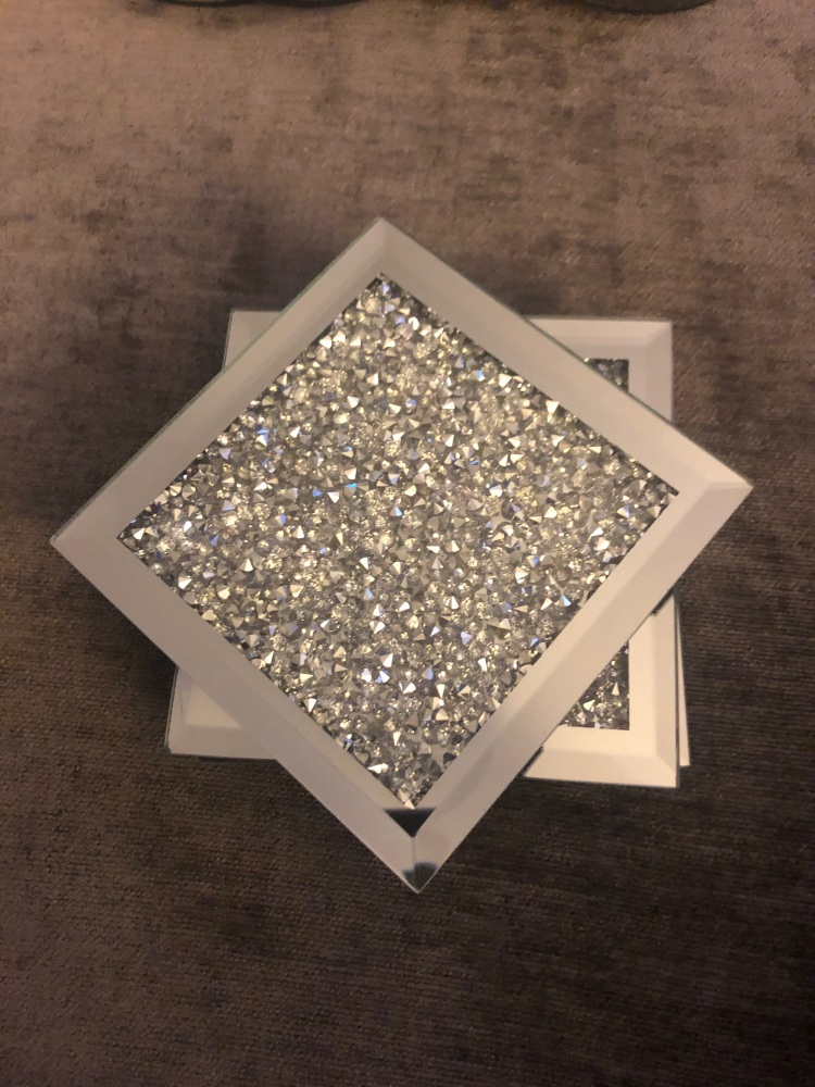 Crush Diamond Sparkle Mirrored Square Coasters set of 4
