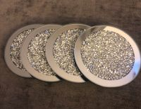 Crush Diamond Sparkle Mirrored Round Coasters set of 4