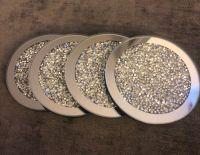 Crush Diamond Sparkle Mirrored Round Coasters set of 4