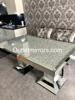 "* Diamond Crush Sparkle Mirrored Rectangular Dining Table ""Elegance"" in stock"