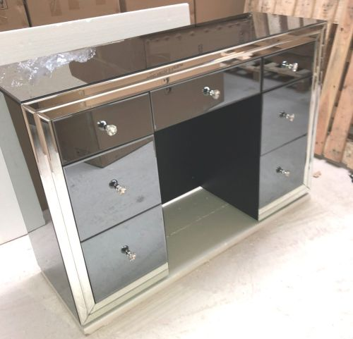 *Atlanta Smoked Grey  & Mirrored 7 Draw Dressing Table with matching Stool