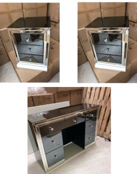 * package * Smoked Dark Grey Mirrored 7 Draw Dressing Table  & 2 x 3 Draw Bedside Chest in stock