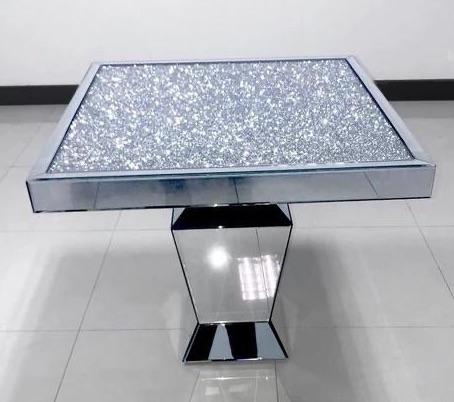*Diamond Crush Sparkle Mirrored Square Dining Table