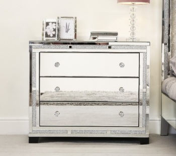 Milano Crush Sparkle Mirrored 3 Draw Chest