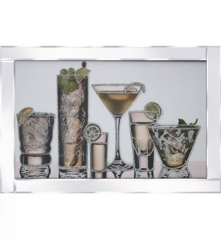 "Mirror framed art print "" Cocktails Galore"" 100cm x 60cm"