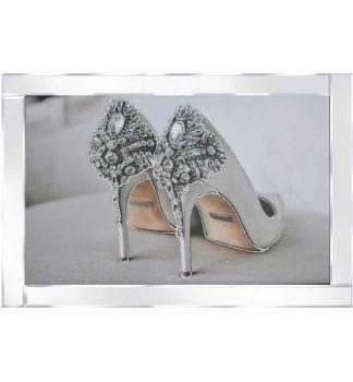 "Mirror framed art print "" Diamante Shoes"" 100cm x 60cm"