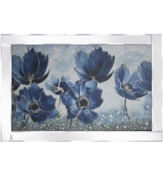 "Mirror framed art print "" Blue Poppies"" 100cm x 60cm"