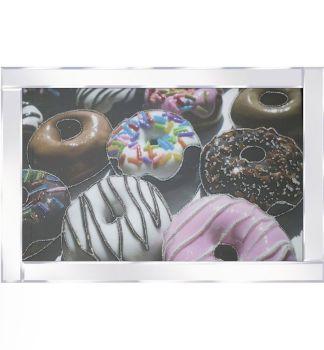 "Mirror framed art print "" Colourful Donuts"" 100cm x 60cm"