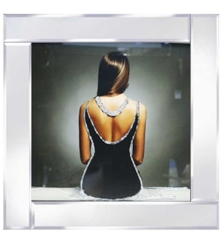 "Mirrored framed Liquid Art ""Backless Black Dress Glamour lady"""