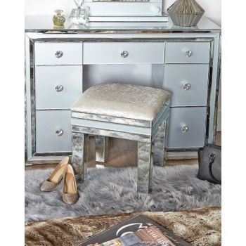 Zeus Mirrored Grey 7 Draw Dressing Table with Matching stool