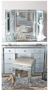 Zeus Mirrored Grey 7 Draw Dressing Table with Matching stool & Tri Fold Mirror