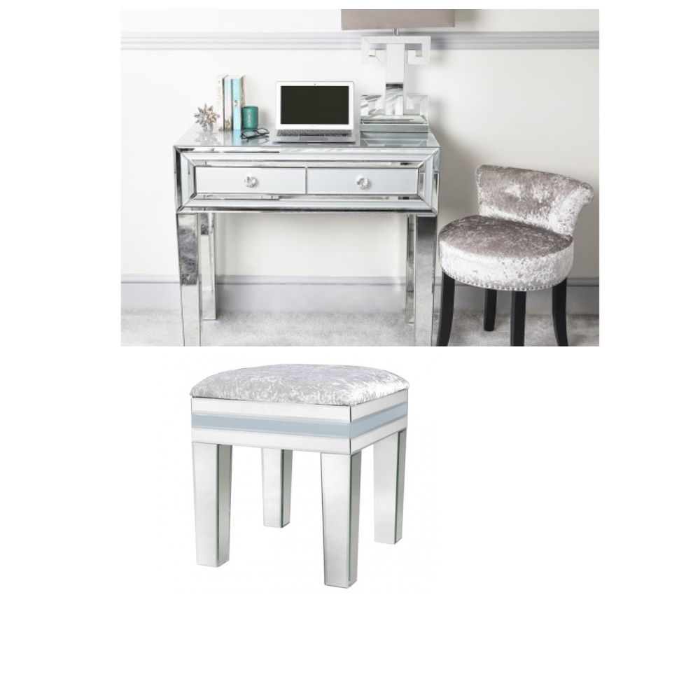 Mirrored Grey 2 Draw Dressing Table & Stool