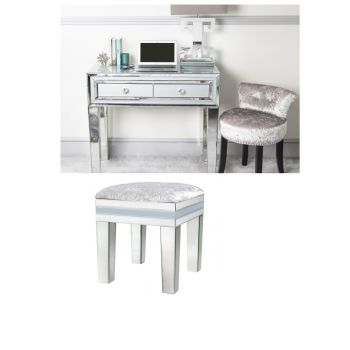 Zeus Mirrored Grey 2 Draw Dressing Table & Stool