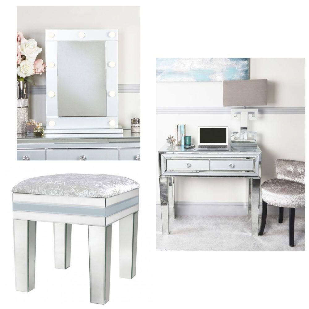 Mirrored Grey 2 Draw Dressing Table, Stool & Hollywood Mirror