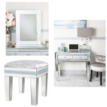 Mirrored Grey 2 Draw Dressing Table, Stool & Hollywood Mirror