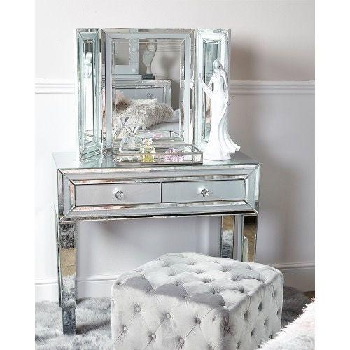 Mirrored Grey 2 Draw Dressing Table, Stool & Tri Fold Mirror