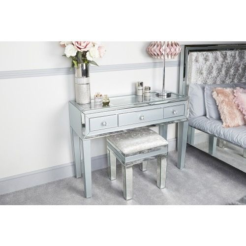Mirrored Grey 3 Draw Dressing Table & Stool