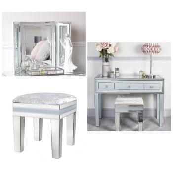 Zeus Mirrored Grey 3 Draw Dressing Table, Stool & Tri Fold Mirror