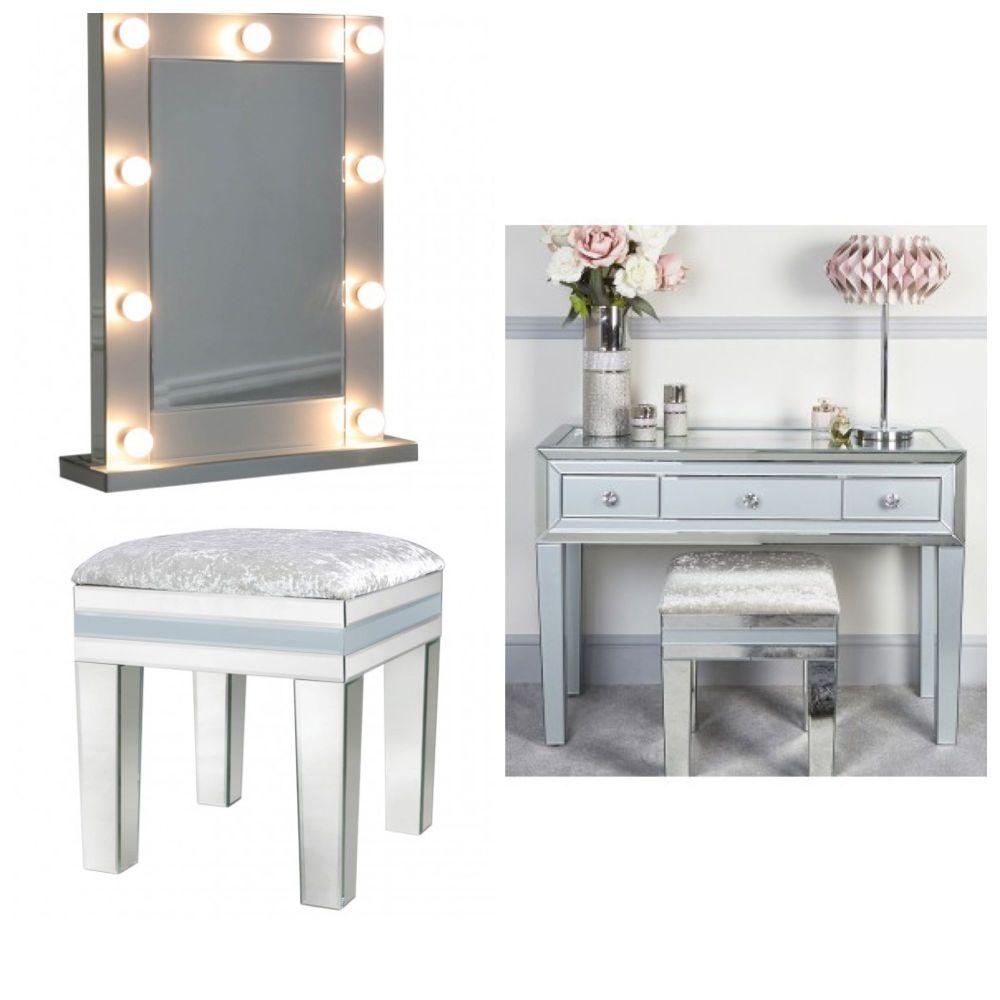 Mirrored Grey 3 Draw Dressing Table, Stool & Hollywood Mirror