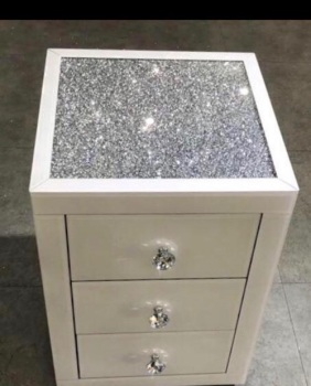 * Monica Diamond Crush Mirrored White 3 Draw Bedside Chest with a Diamond crush Top PRE ORDER NOW
