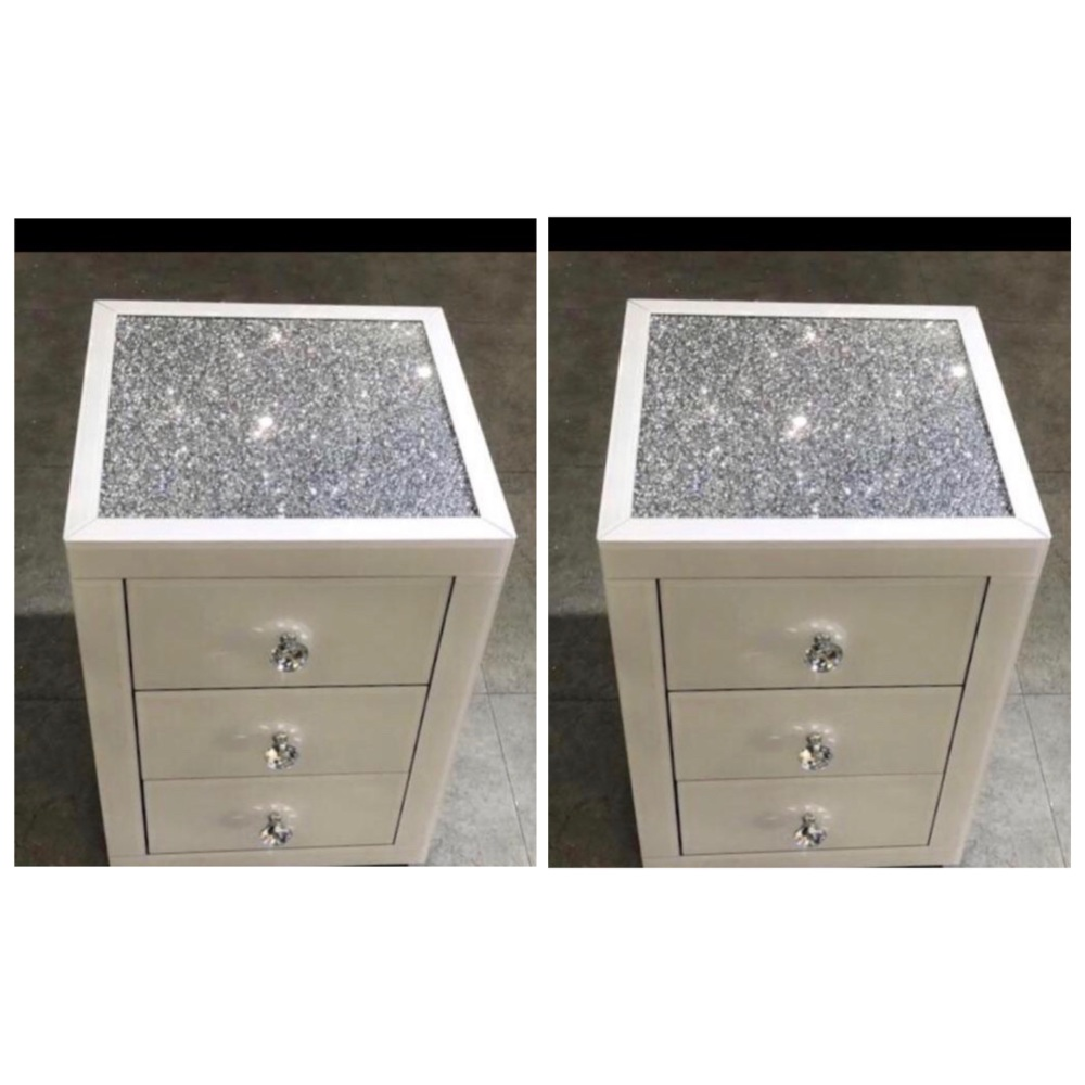 * Monica Diamond Crush Mirrored White  Pair of  3 Draw Bedside Chest with a