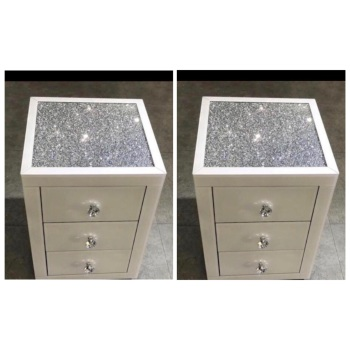 * Monica Diamond Crush Mirrored White  Pair of  3 Draw Bedside Chest with a Diamond crush Top