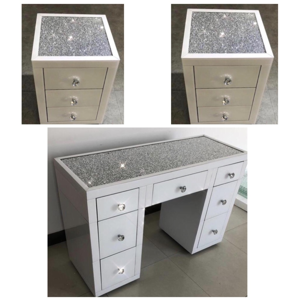 * package Deal Monica Diamond Crush Mirrored white 7 Draw Dressing Table wi