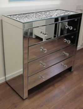 * Monica Diamond Crush Mirrored Silver 5 Draw Large Chest with a Diamond crush Top PRE ORDER NOW