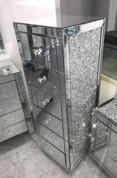 * Monica Diamond Crush Mirrored Silver 6 Draw Tallboy Chest with a Diamond crush sides - Sold Out