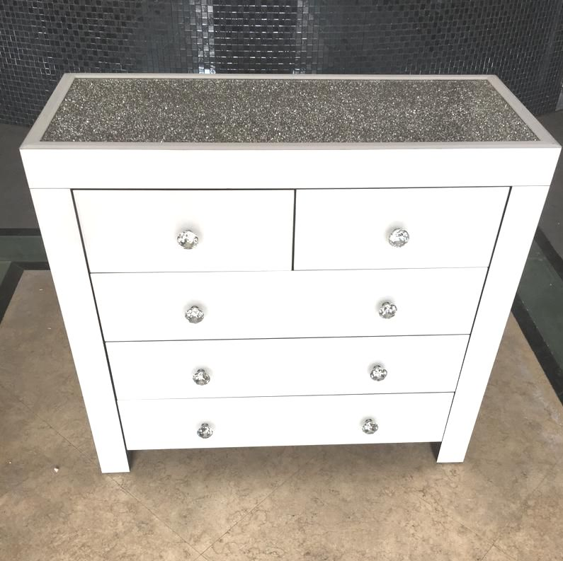 * Monica Diamond Crush Mirrored White 5 Draw Large Chest with a Diamond cru