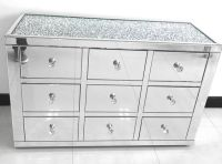 * Monica Diamond Crush Mirrored Silver 9 Draw Large Chest with a Diamond crush Top - Sold out