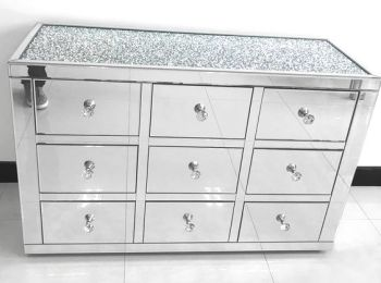 * Monica Diamond Crush Mirrored Silver 9 Draw Large Chest with a Diamond crush Top PRE ORDER NOW