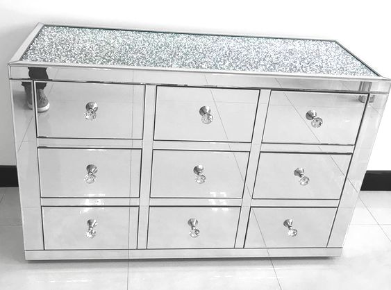 * Monica Diamond Crush Mirrored Silver 9 Draw Large Chest with a Diamond cr