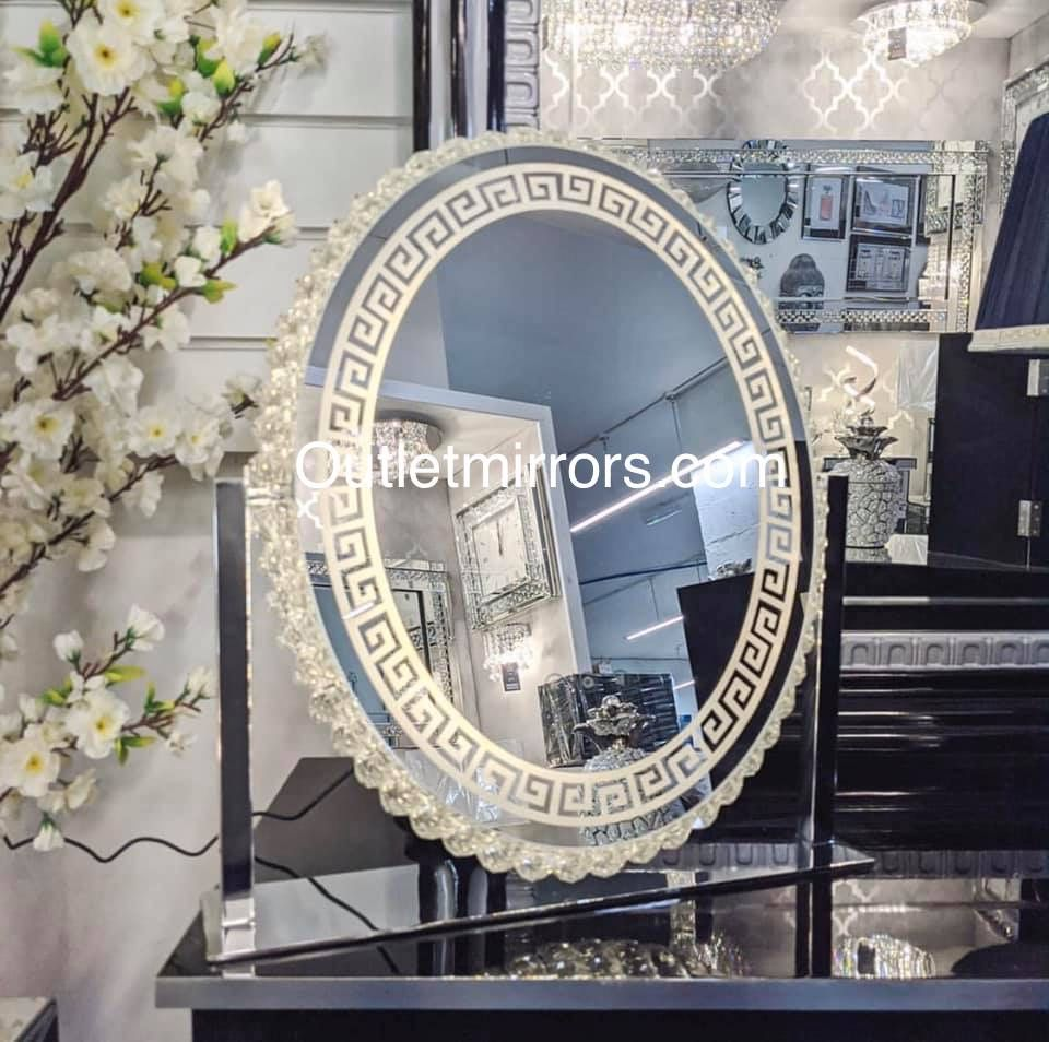 * New LED Crystal Oval Versace Make Up Mirror 62cm x 13cm x 55cm in stock