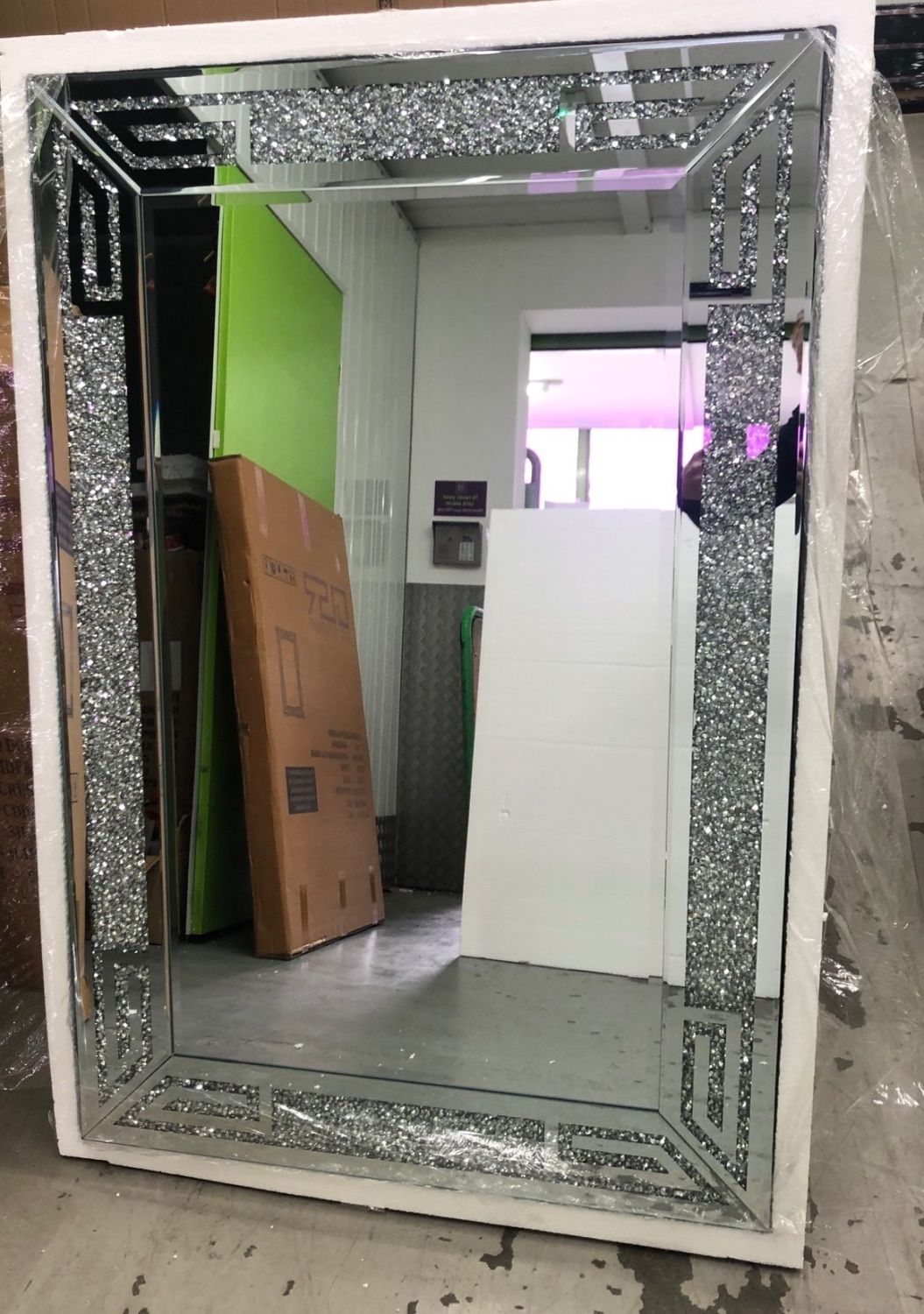 *special offer* New Diamond Crush Sparkle Aztec Wall Mirror 120cm x 80cm in